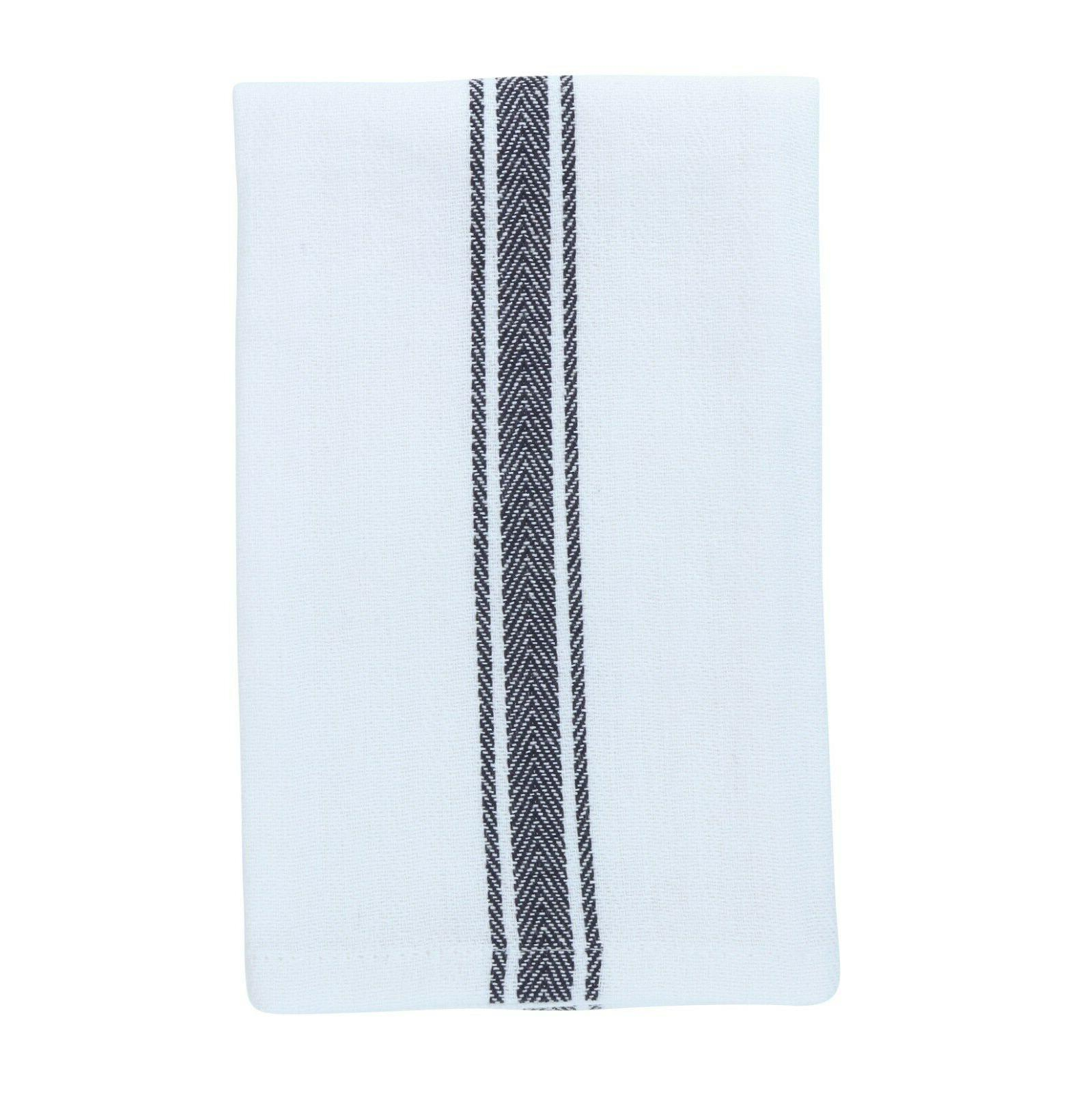 12 Pack of Striped Kitchen Dish Towels - x Color