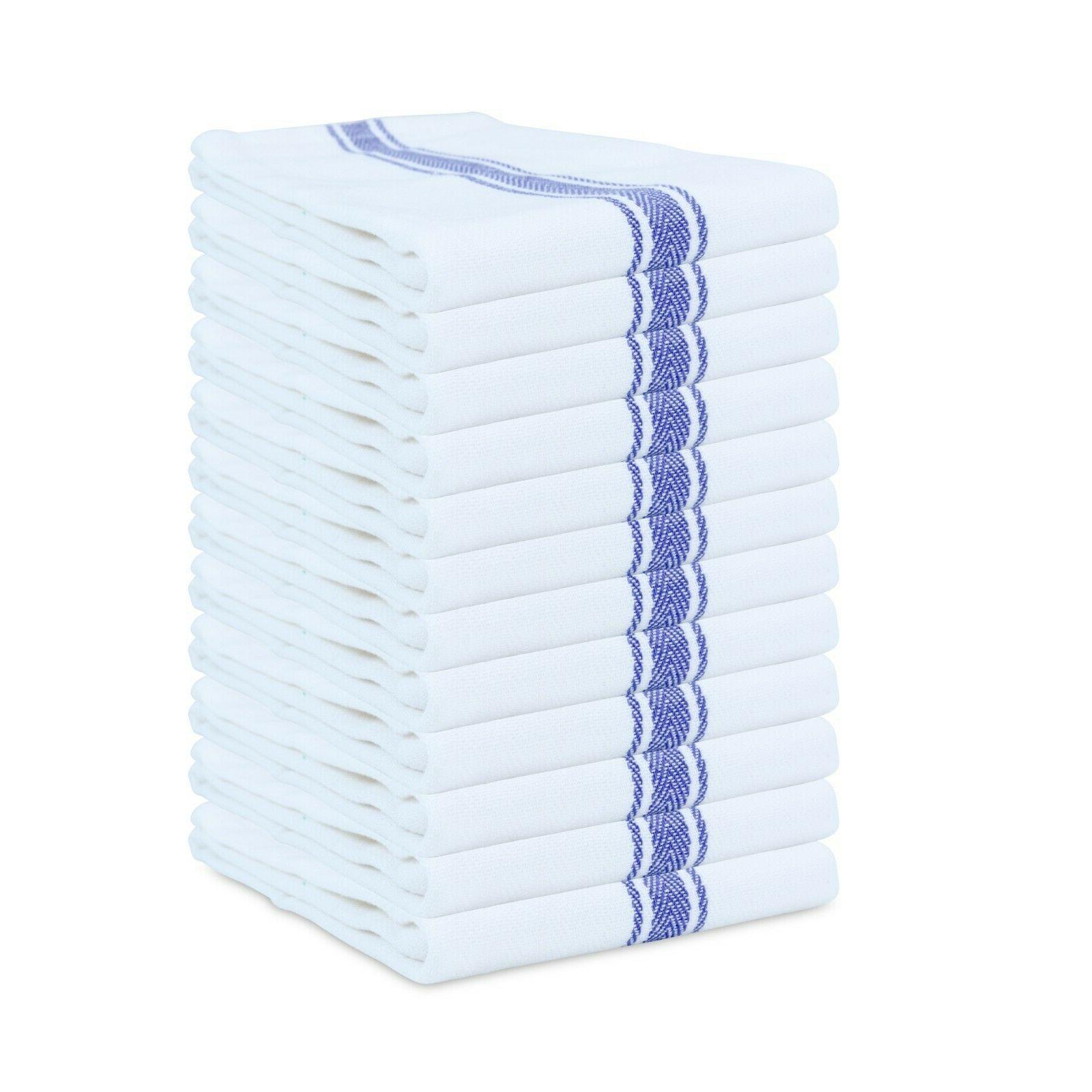 Striped Kitchen Tea Towels Packs of 12 Dish Towels - 15 x 25