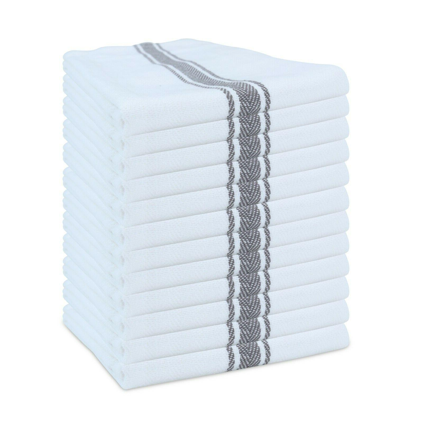 12 Pack of Striped Kitchen Tea Towels Dish Towels 15 x Color