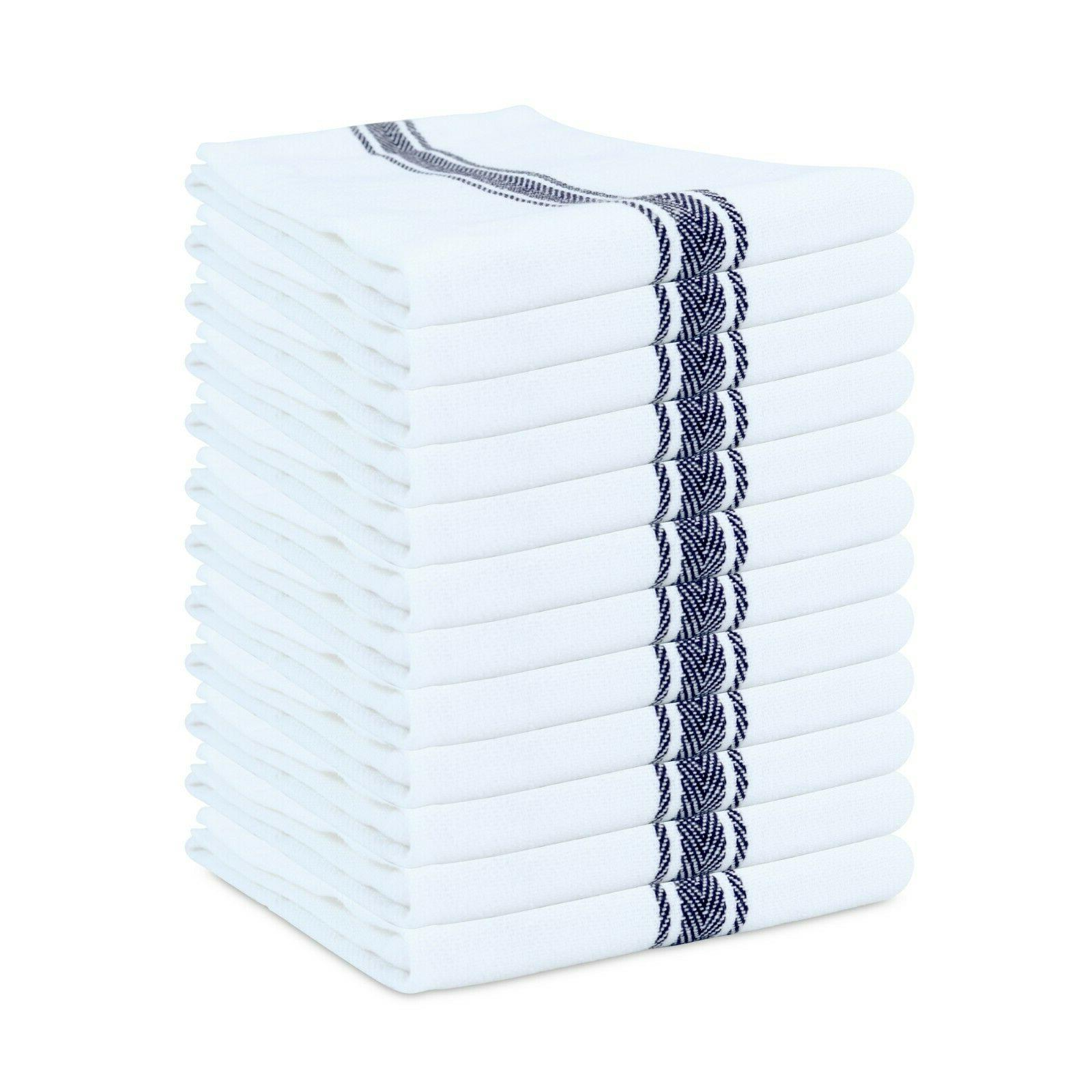 12 pack of striped kitchen tea towels