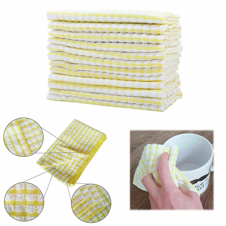 12 Pieces Dish Towel 100% Cotton Kitchen Towels Lot Set Whit