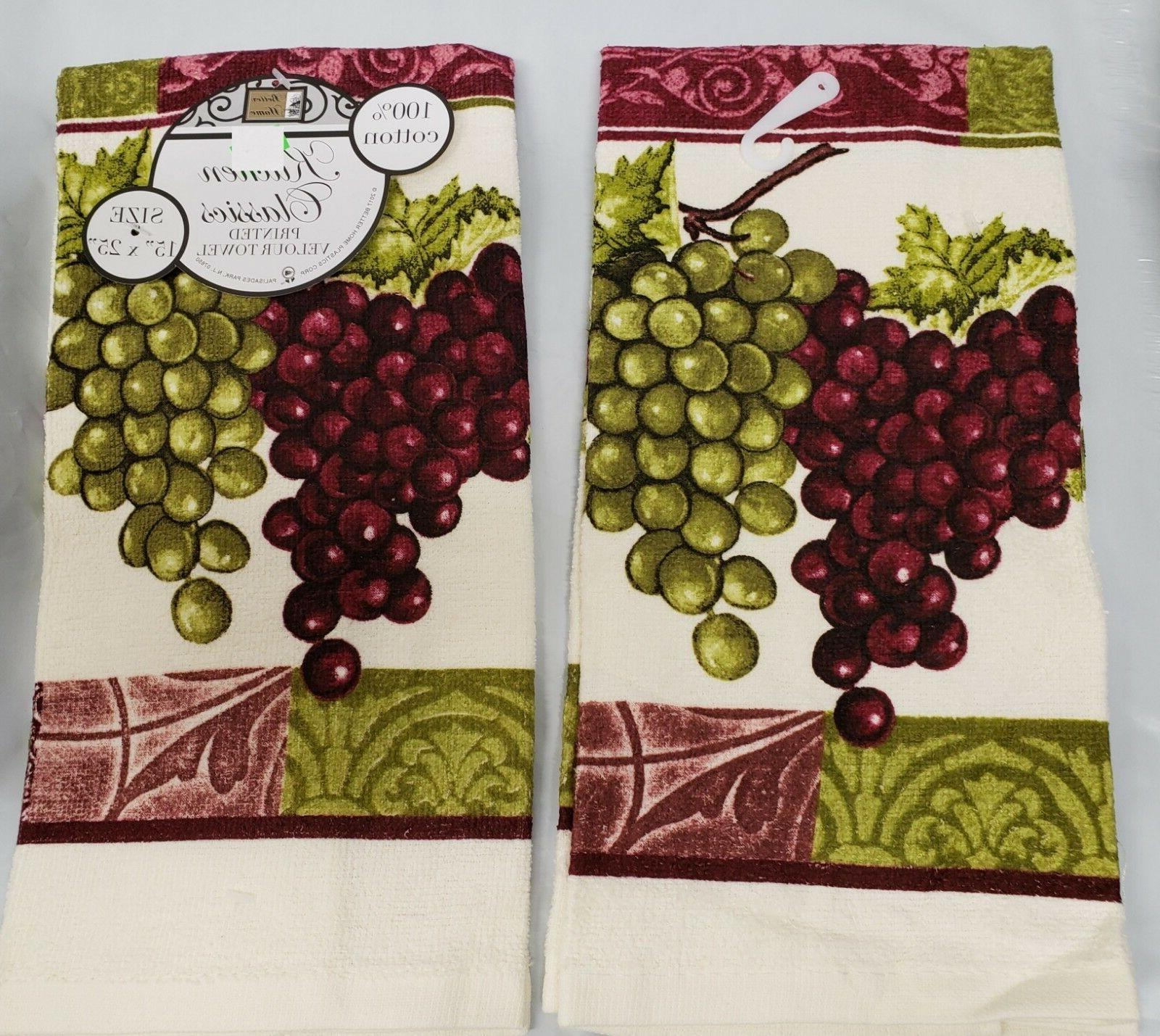 2 KITCHEN TOWELS RED GRAPES