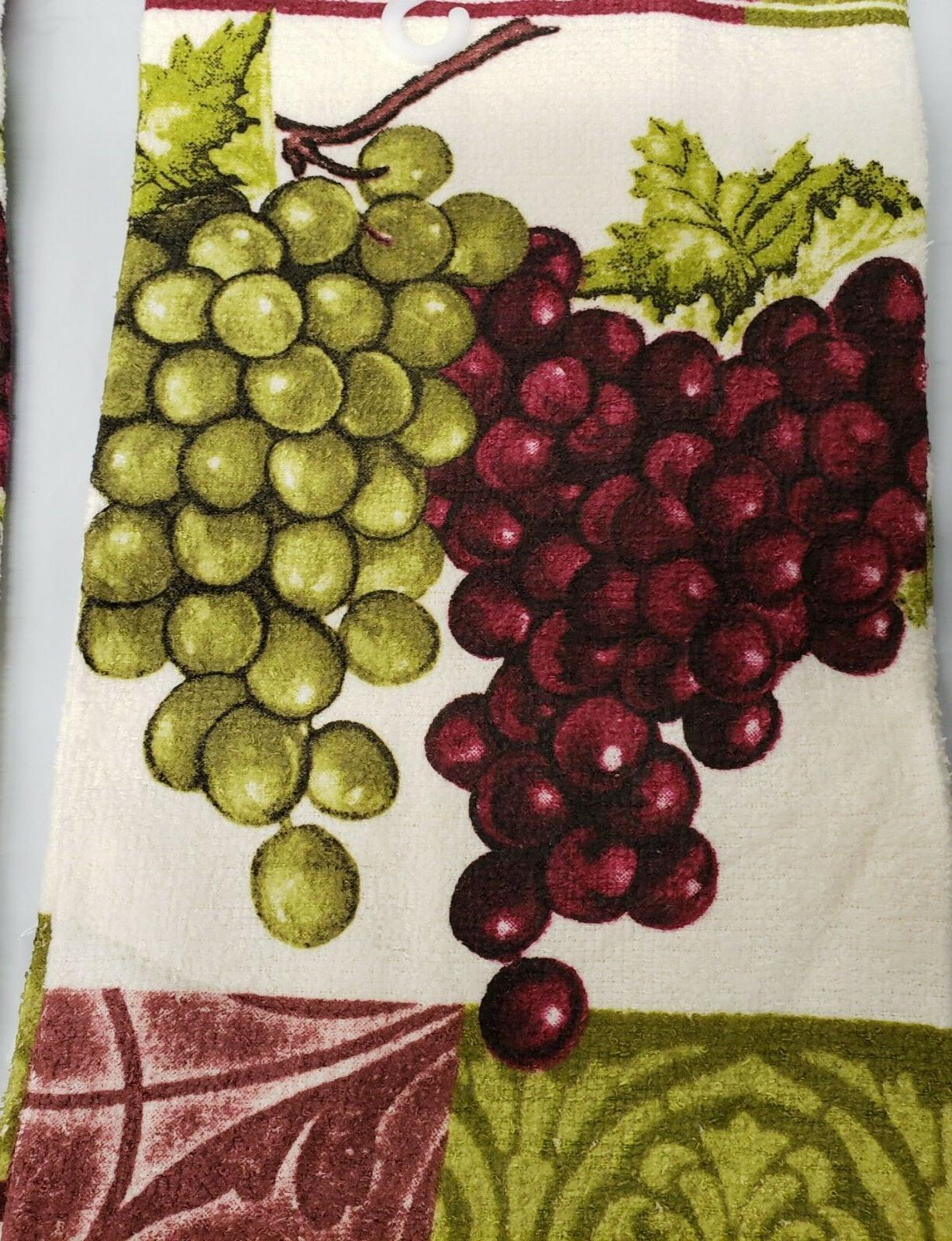 2 PRINTED KITCHEN TOWELS & GRAPES by