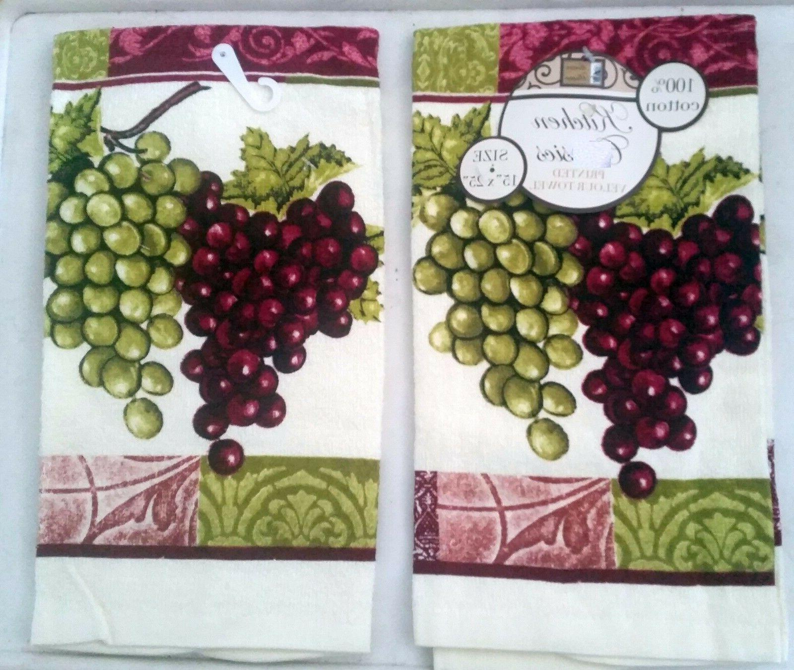 2 SAME PRINTED KITCHEN TOWELS  RED & GREEN GRAPES by BH