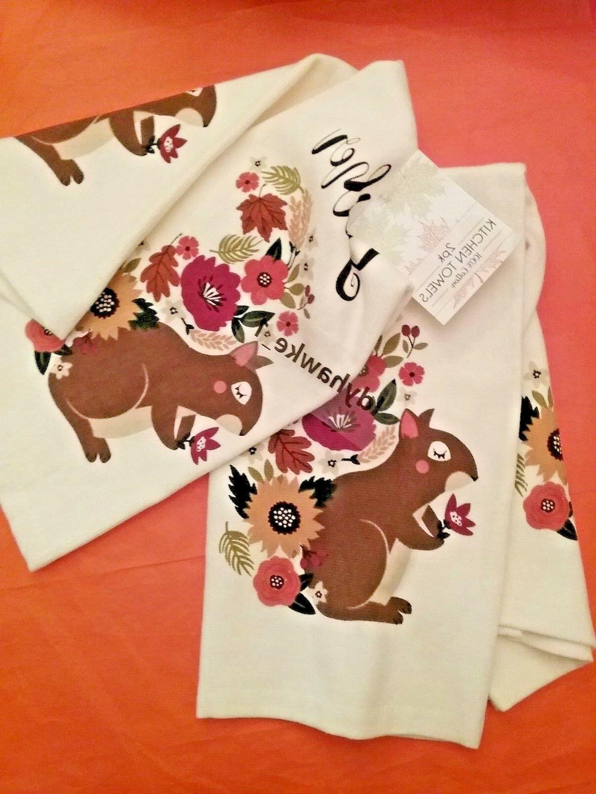 2 Cute GATHER Squirrel with Floral Towels