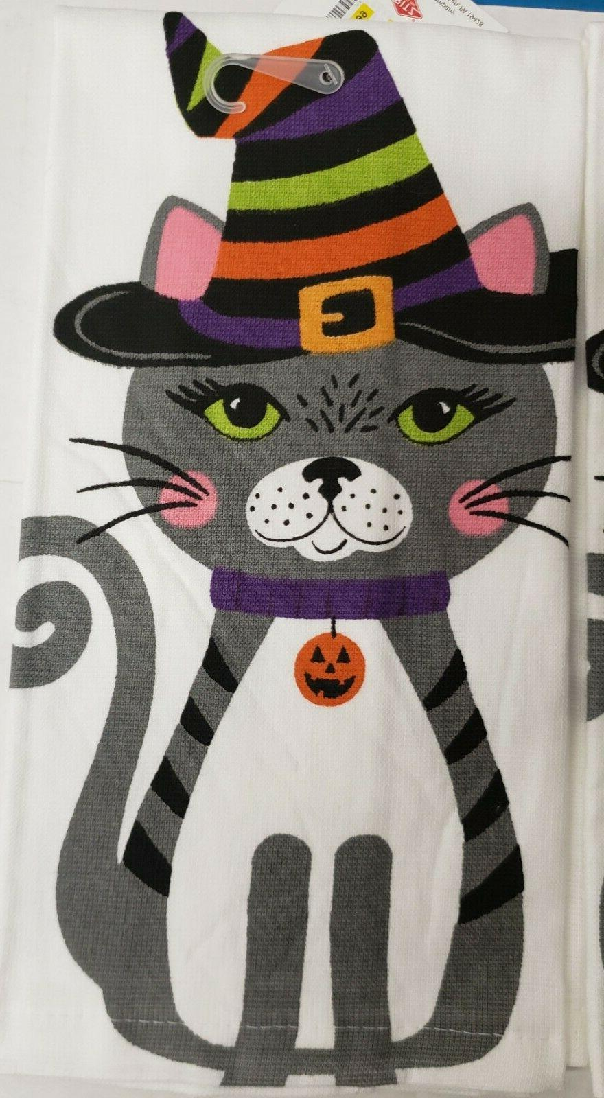 2 COTTON TERRY TOWELS CAT & DOG,