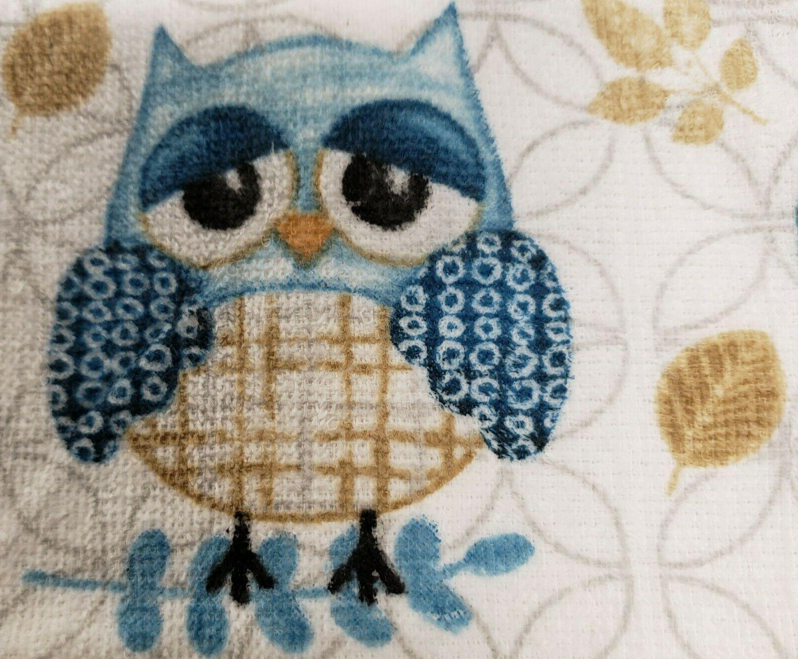 2 same printed kitchen towels, 2 cute owls,