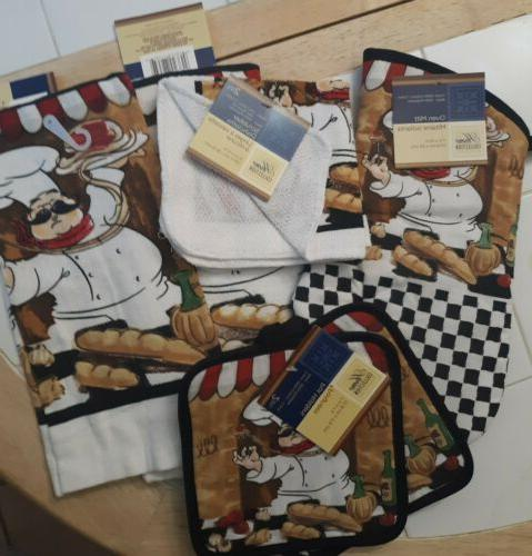 2 fat chef kitchen towels hot pads