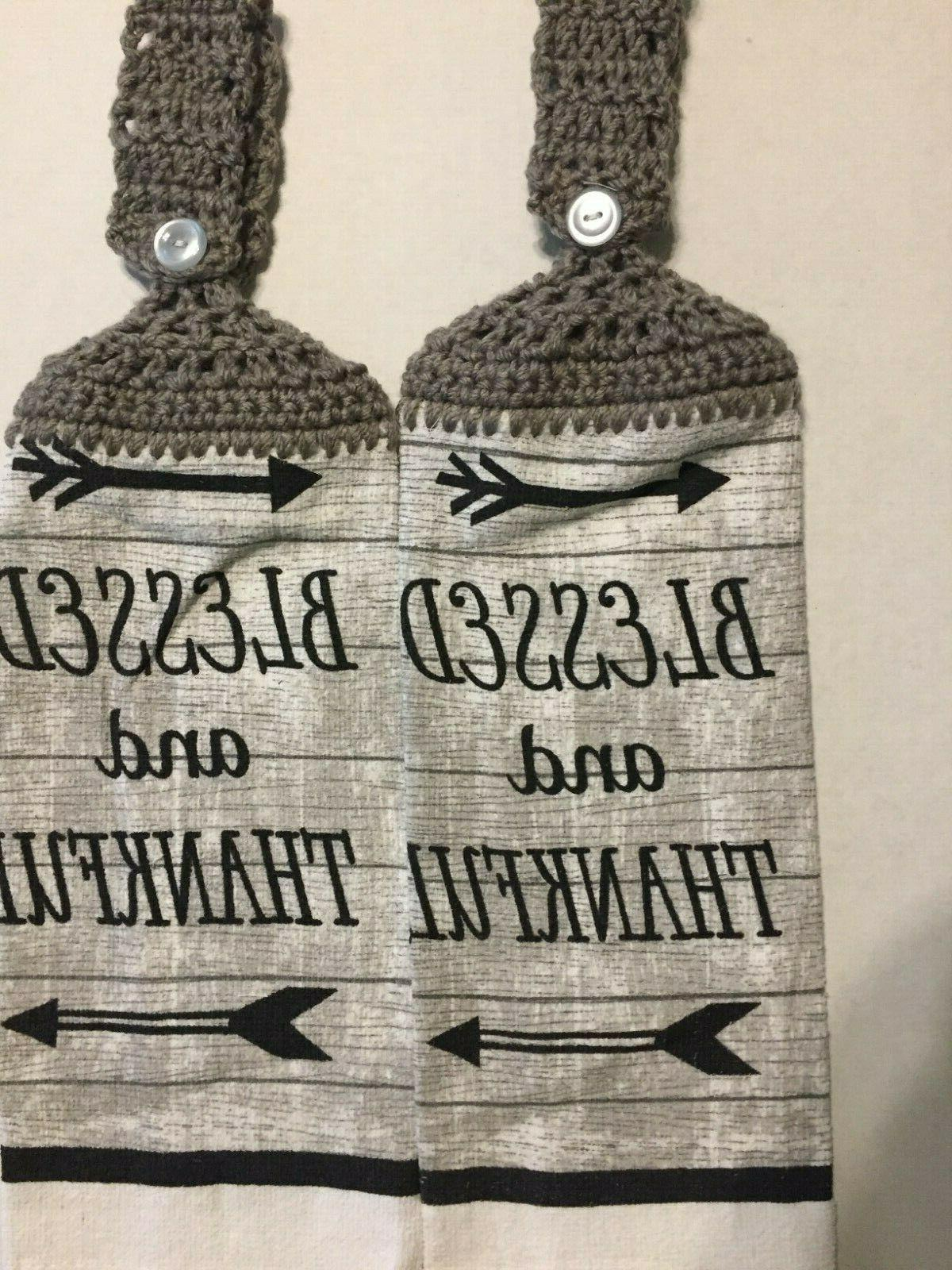2 hanging crochet kitchen dish towels blessed