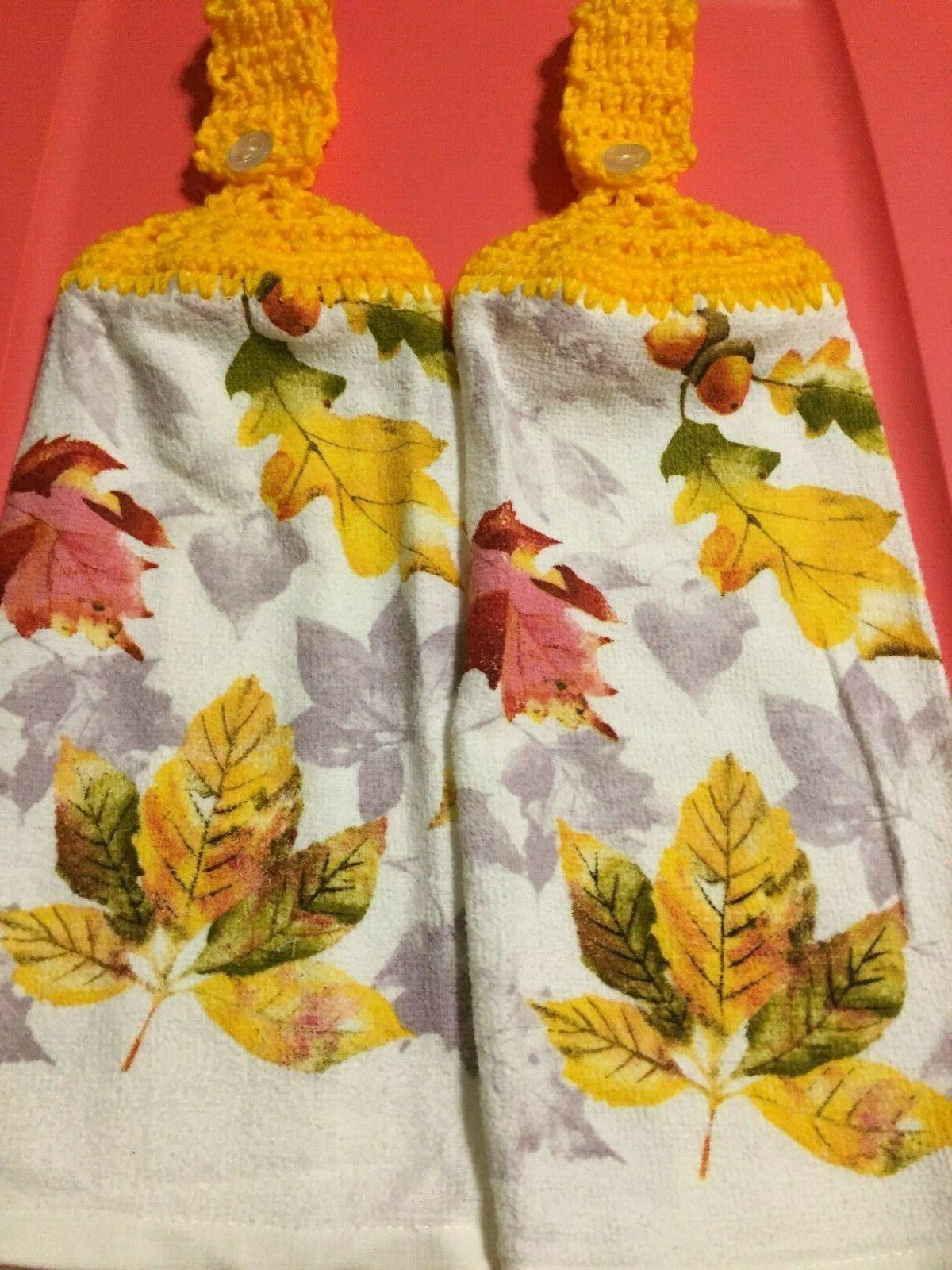 2 hanging crochet kitchen dish towels fall