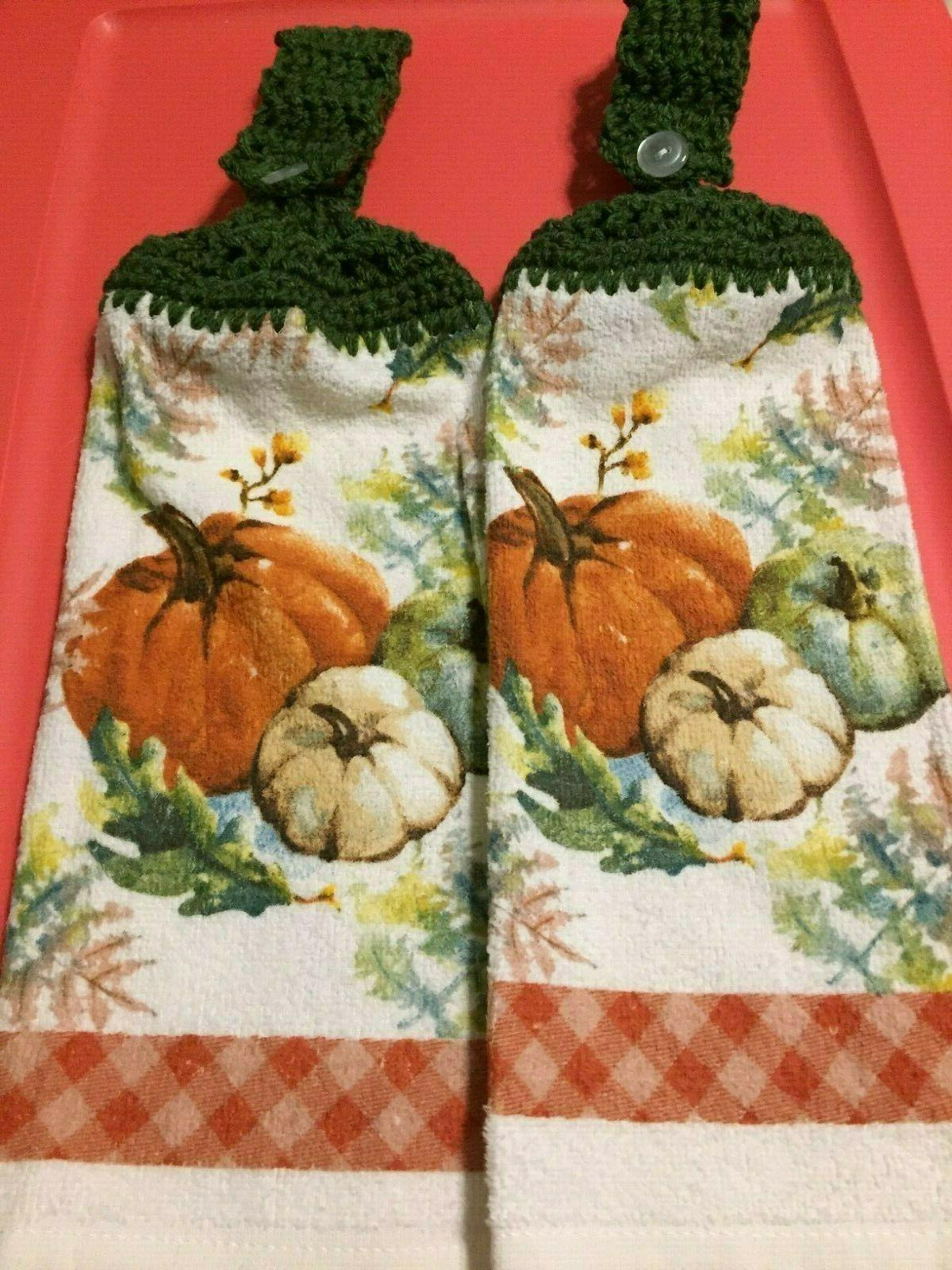2 hanging crochet kitchen dish towels pumpkins