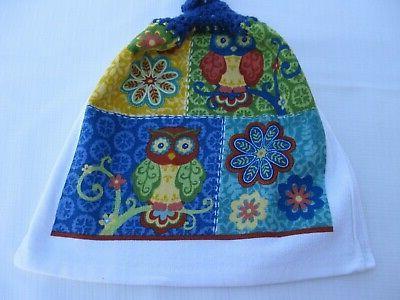 Towels w/Royal Blue Tops Owls Flowers