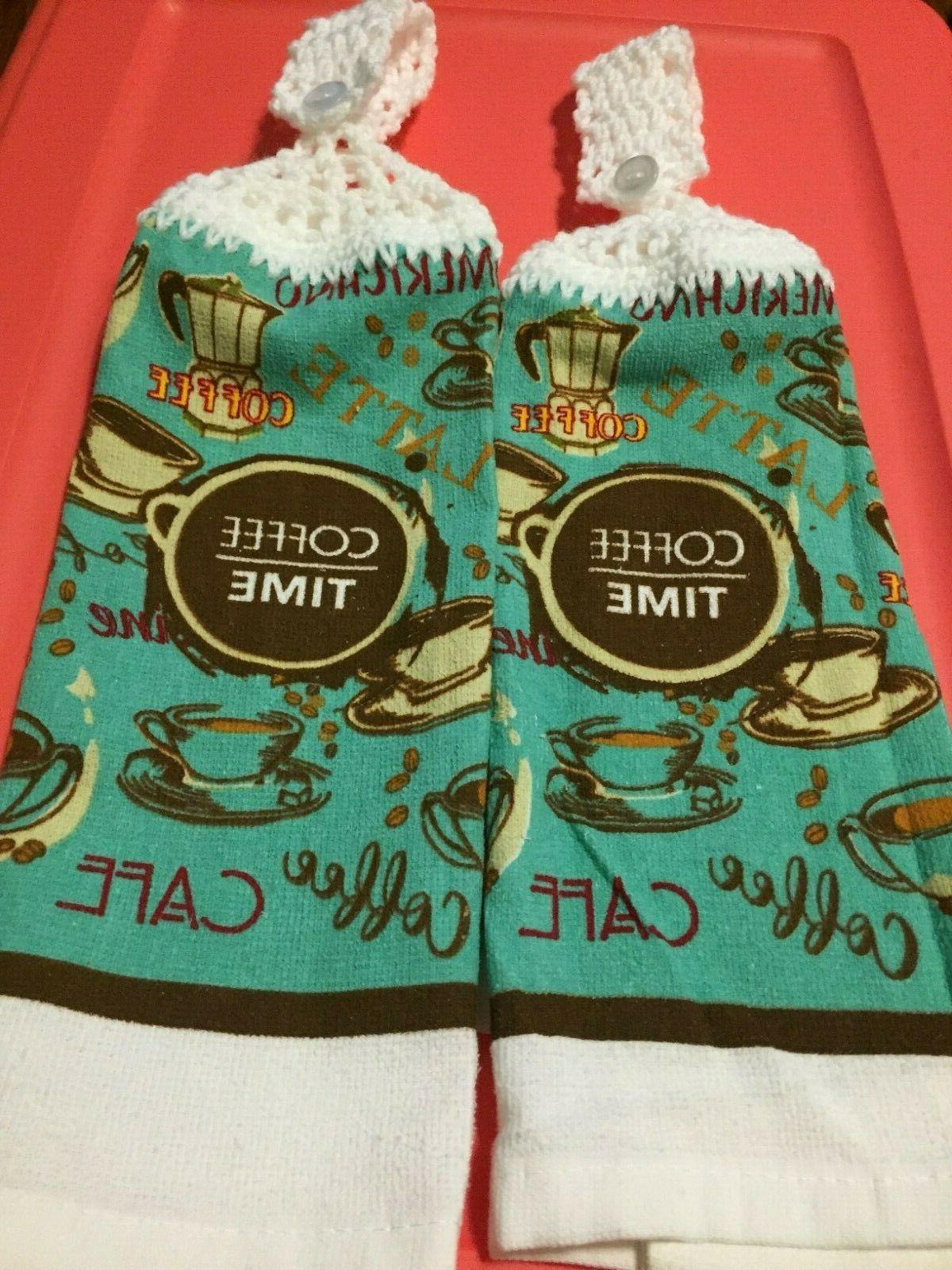 2 hanging kitchen dish towels crocheted coffee