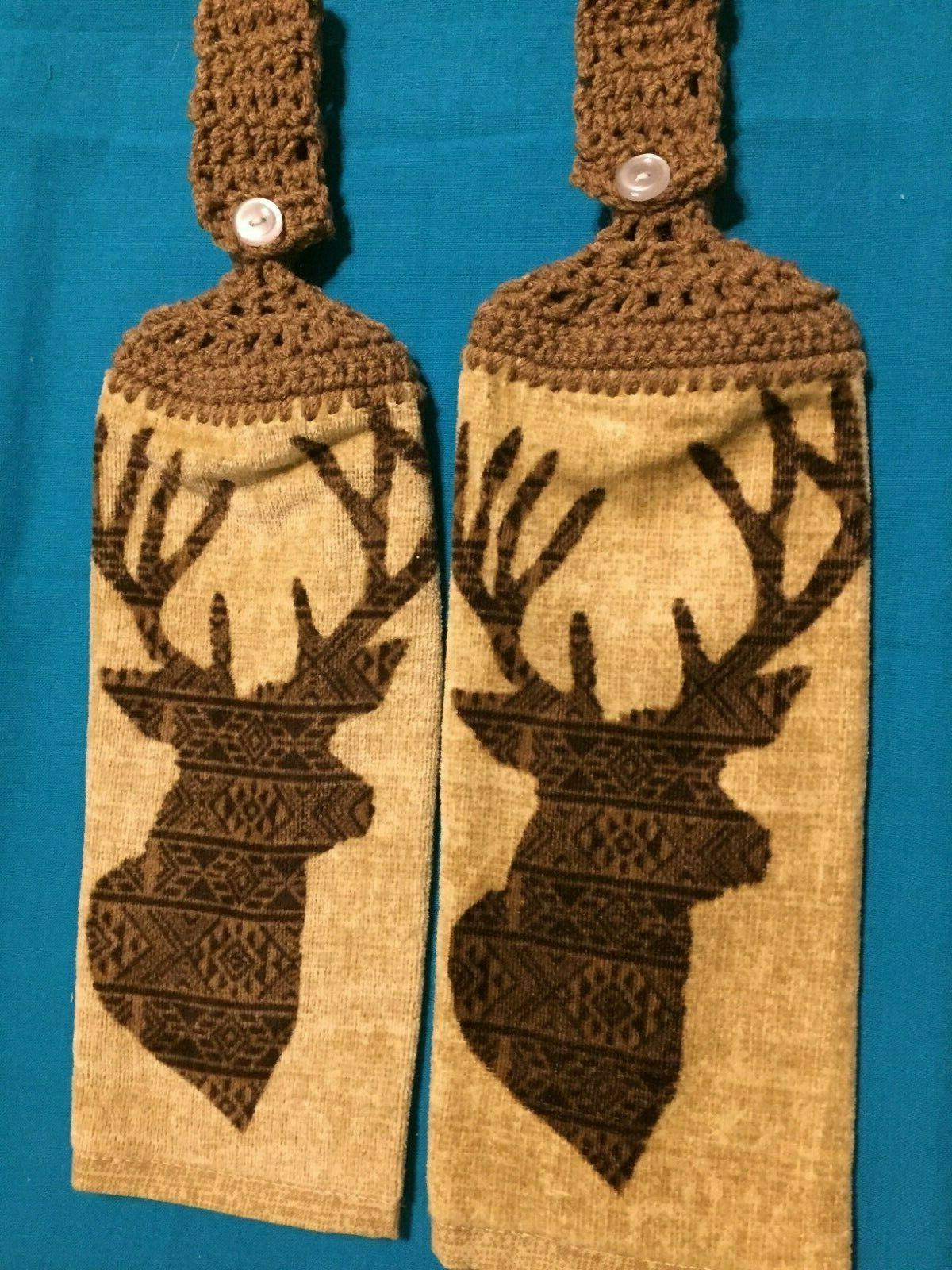 2 hanging kitchen dish towels crocheted deer