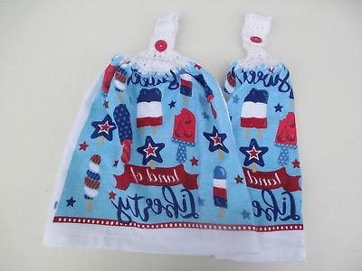 2 hanging kitchen dish towels w crochet
