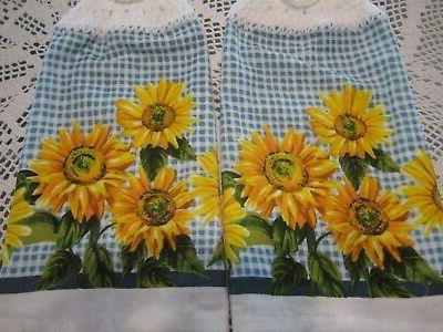 *!* 2-HANGING KITCHEN * CROCHED SUNFLOWERS NEW