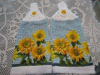 2 hanging kitchen towels white croched tops