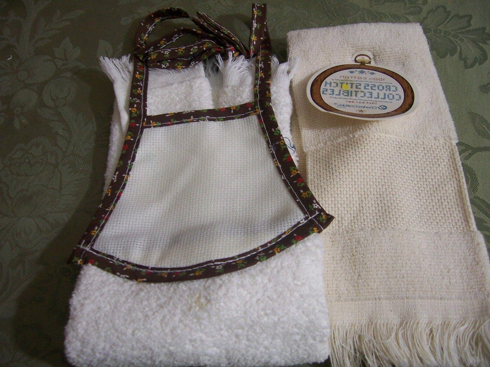 2 kitchen hand dish towels white cream