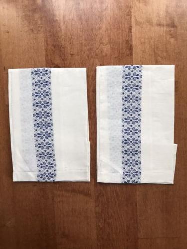 2 new off white ivory blue linen