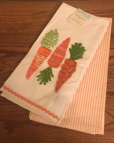 2 PC Cynthia Rowley Kitchen Dish Towels Carrot
