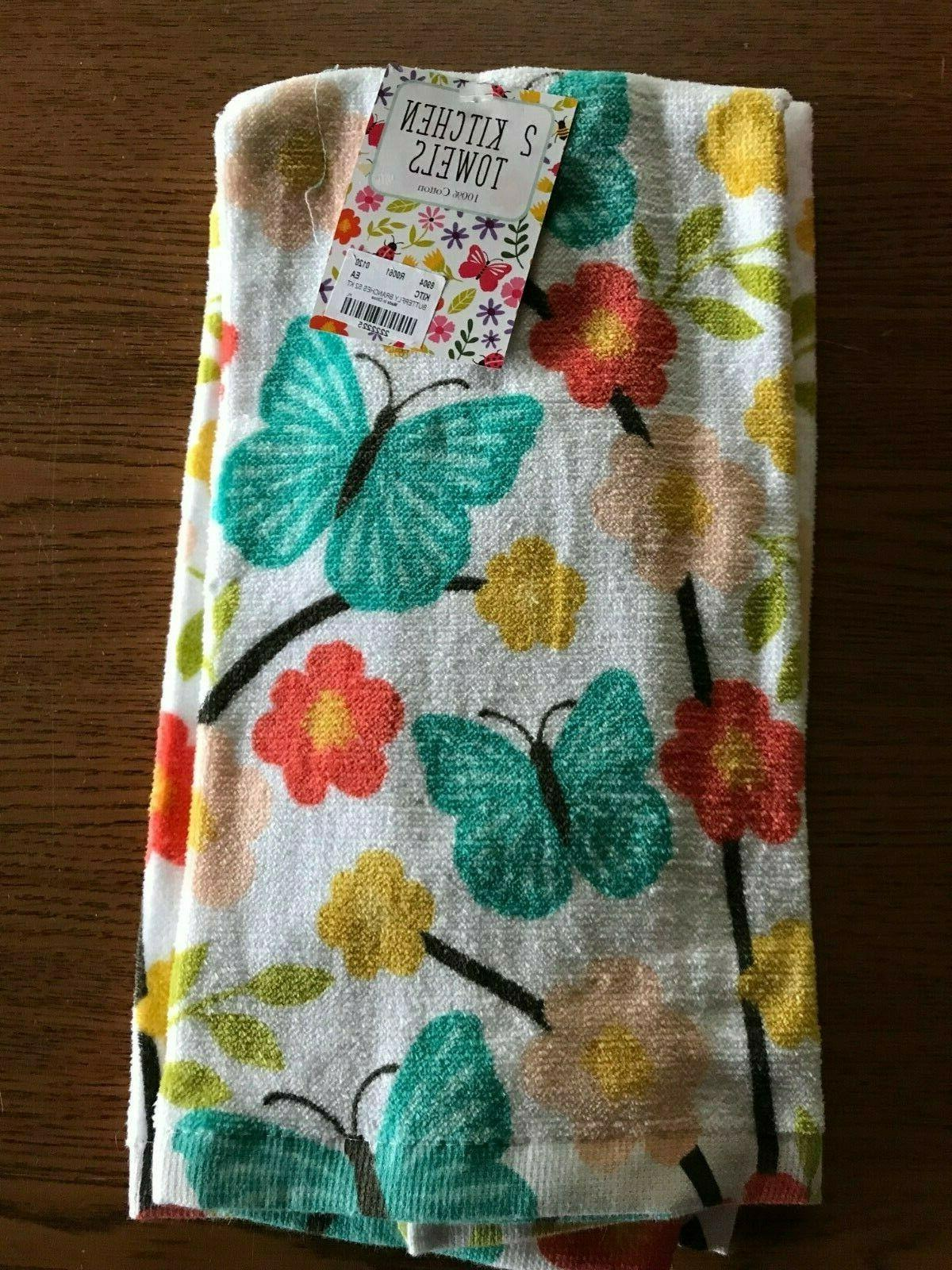 2 piece butterfly branches kitchen towels 16x25