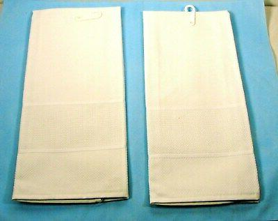 2 Pure White 100% Cotton Towels for Cross Stitch ~ New