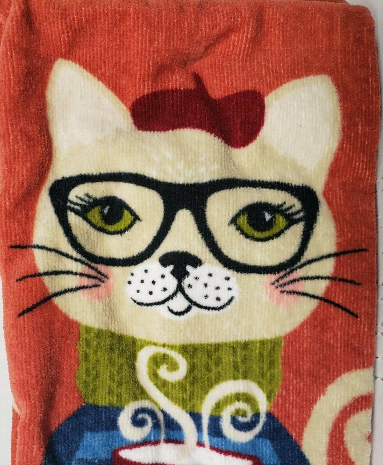 2 TERRY TOWELS CAT IN