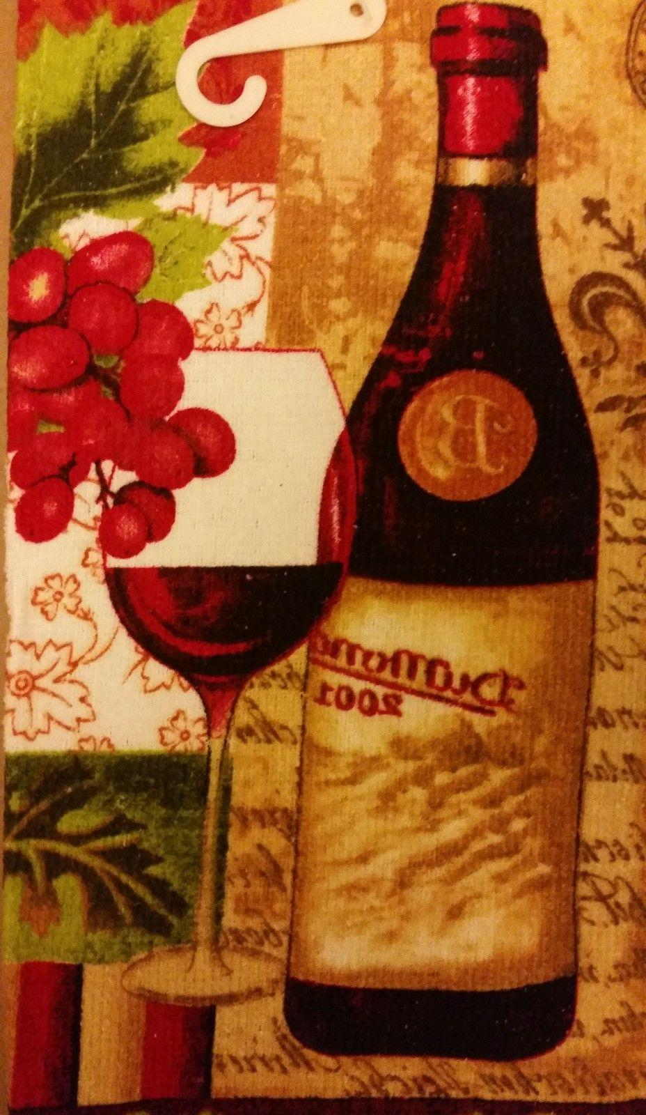 "2 PRINTED TOWELS, 15"" 25"", WINE & GRAPES, cotton"
