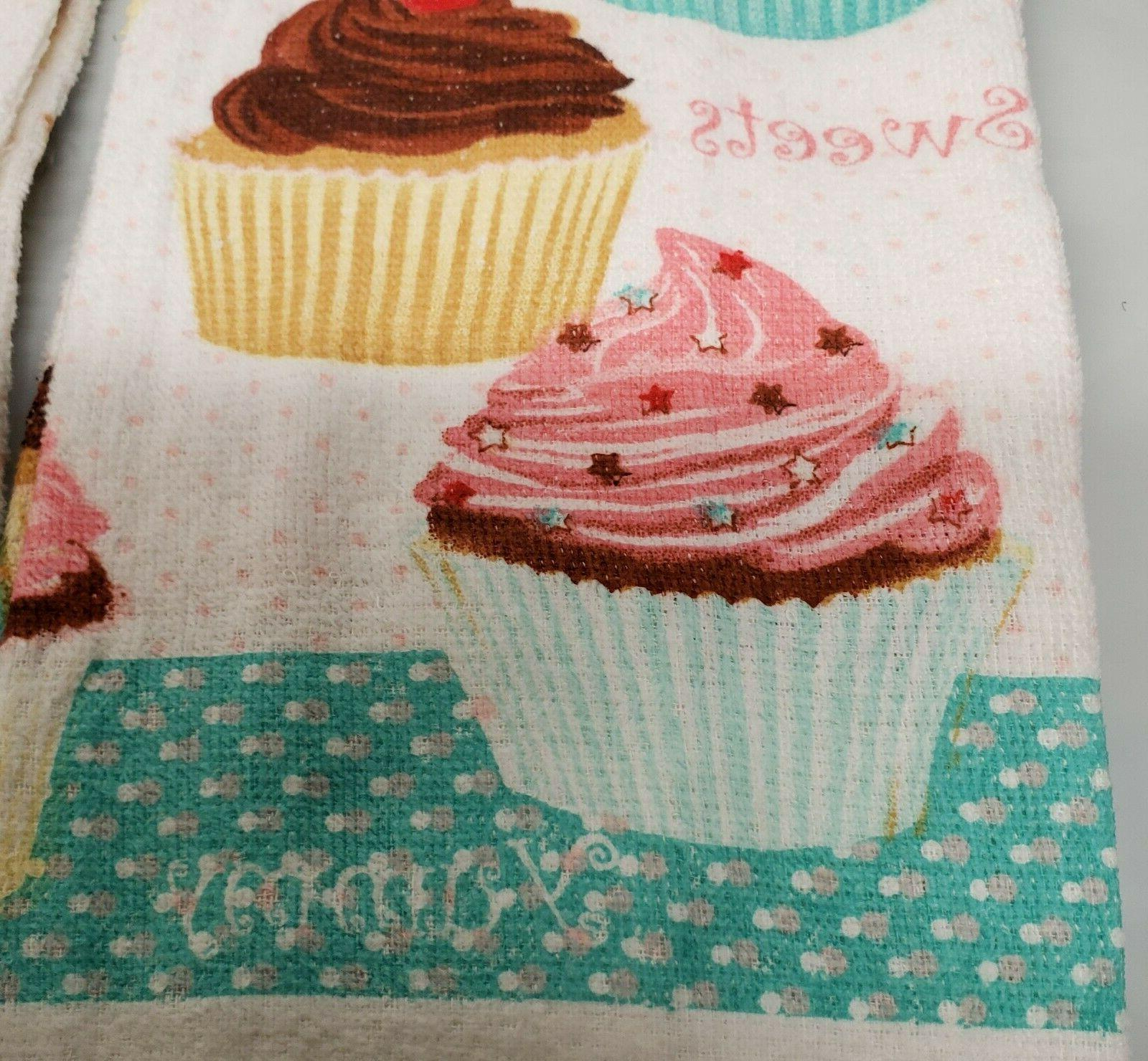 2 SAME KITCHEN TOWELS BUNCH OF CUPCAKES,
