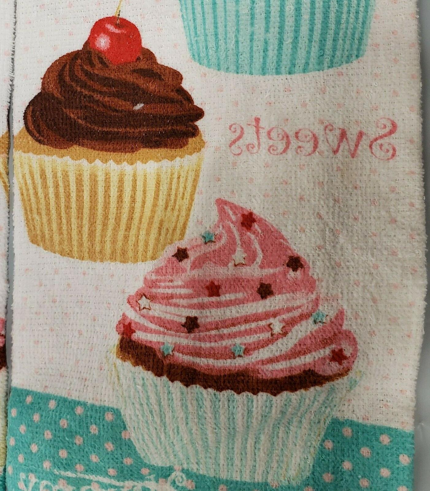 2 PRINTED TOWELS BUNCH OF CUPCAKES,