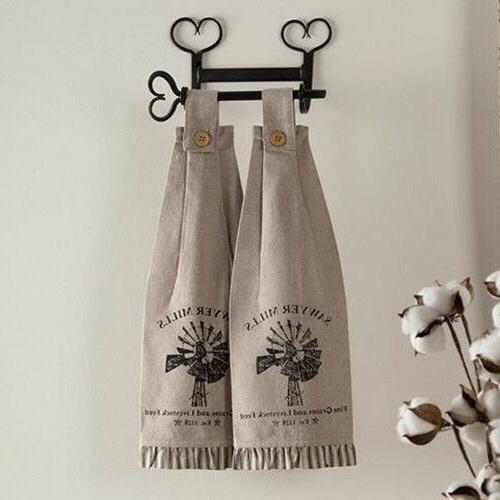 2 Sawyer Windmill Towels farmhouse