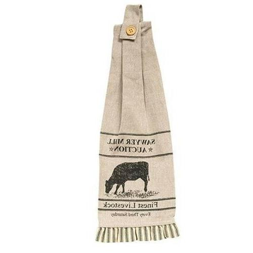 2 Sawyer Mill Charcoal Cow Button Loop Kitchen Towels countr