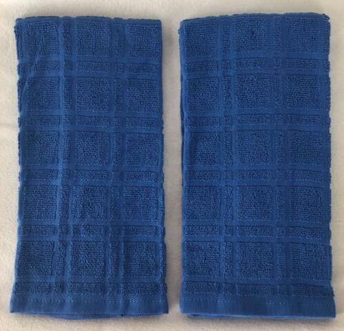 2 solid royal blue plaid windowpane terry