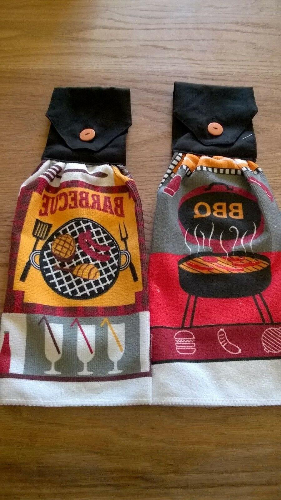 2 towels barbecue designs hanging kitchen towel