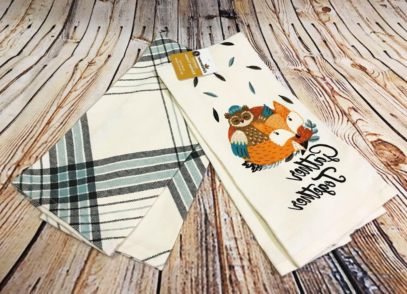 "2pk 25"" x 15"" Kitchen Tea Towels Cotton Gather Together Owl"