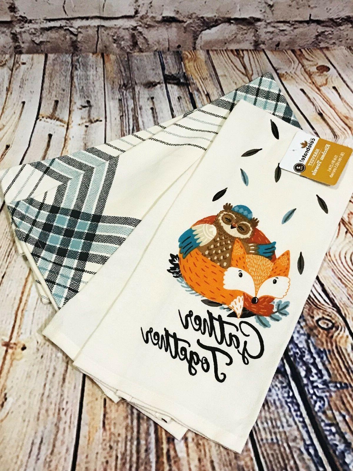 "2pk Cotton Kitchen Tea Towels 25"" x 15"" Gather Together Owl"
