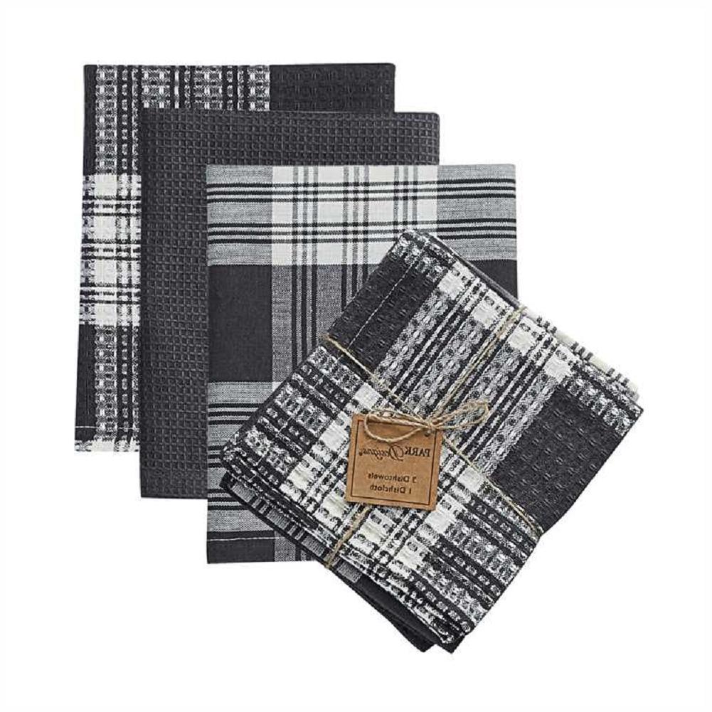 3 Kitchen Towels, 1 Dishcloth Park Designs Set - Slate and W