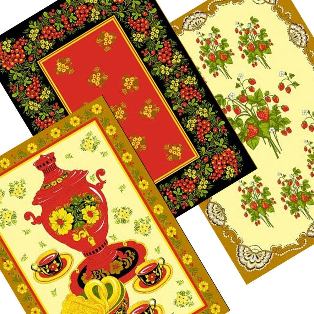 """3 Cotton with Khokhloma 16x28"""" each. Made in Russia"""