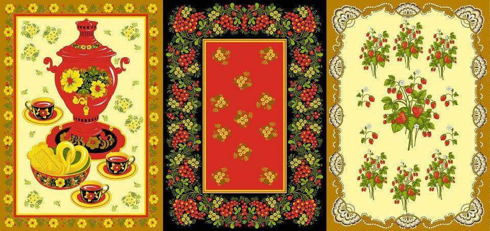 3 cotton kitchen towels with khokhloma print