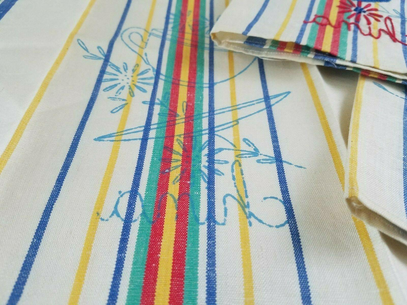 3 vintage cotton stripe kitchen dish towels