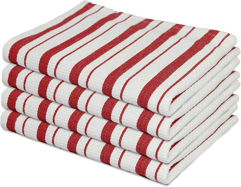 4 pack basketweave kitchen towels red cotton