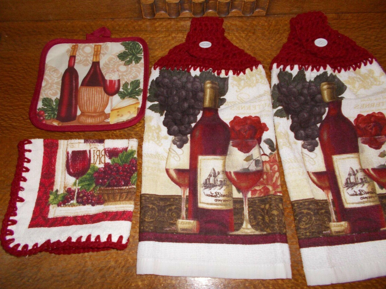 4 pc-HANGING KITCHEN TOWEL SET, Dark Red  CROCHET TOPS -  WI