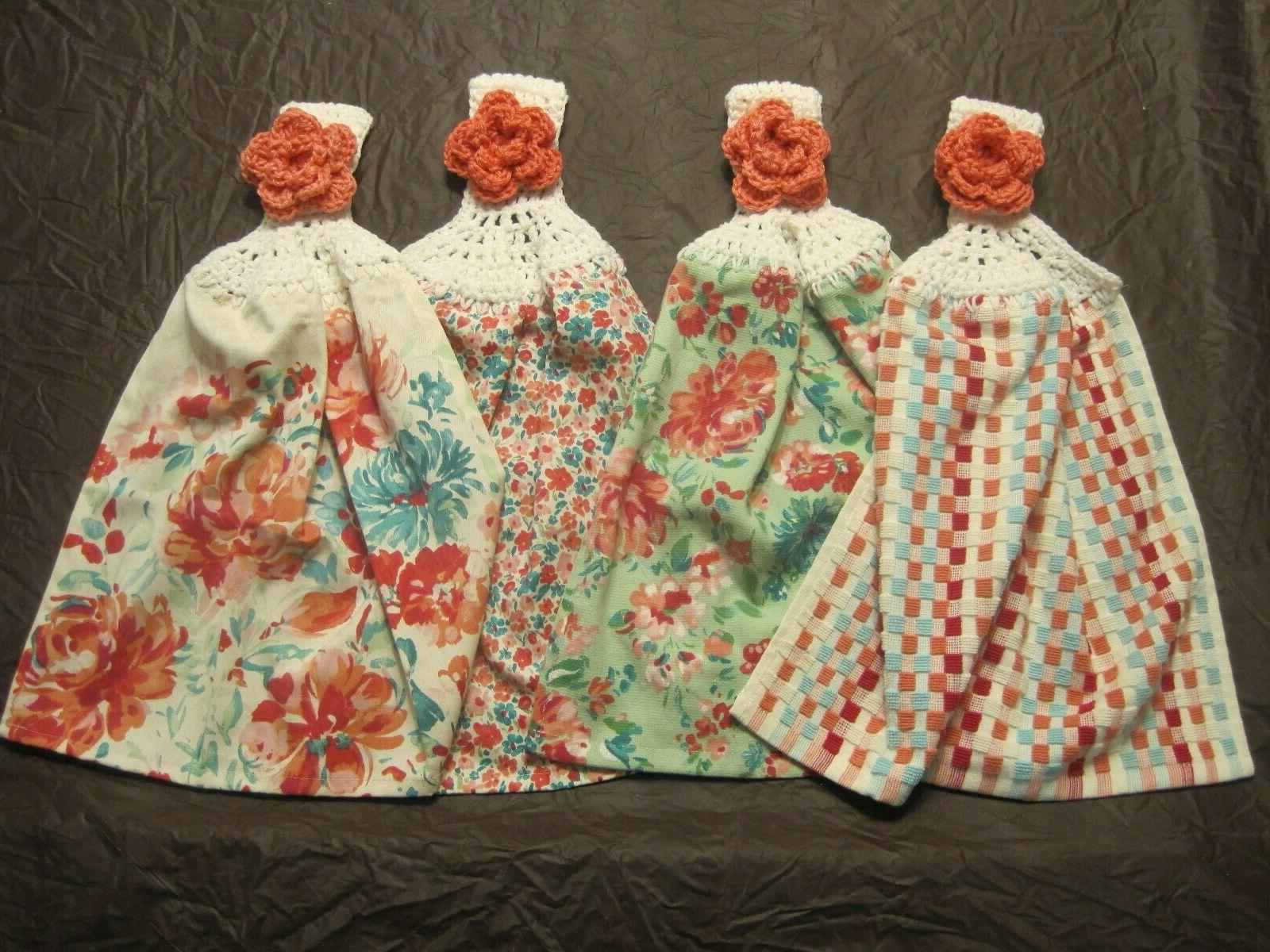 4 set crochet top cotton kitchen towels