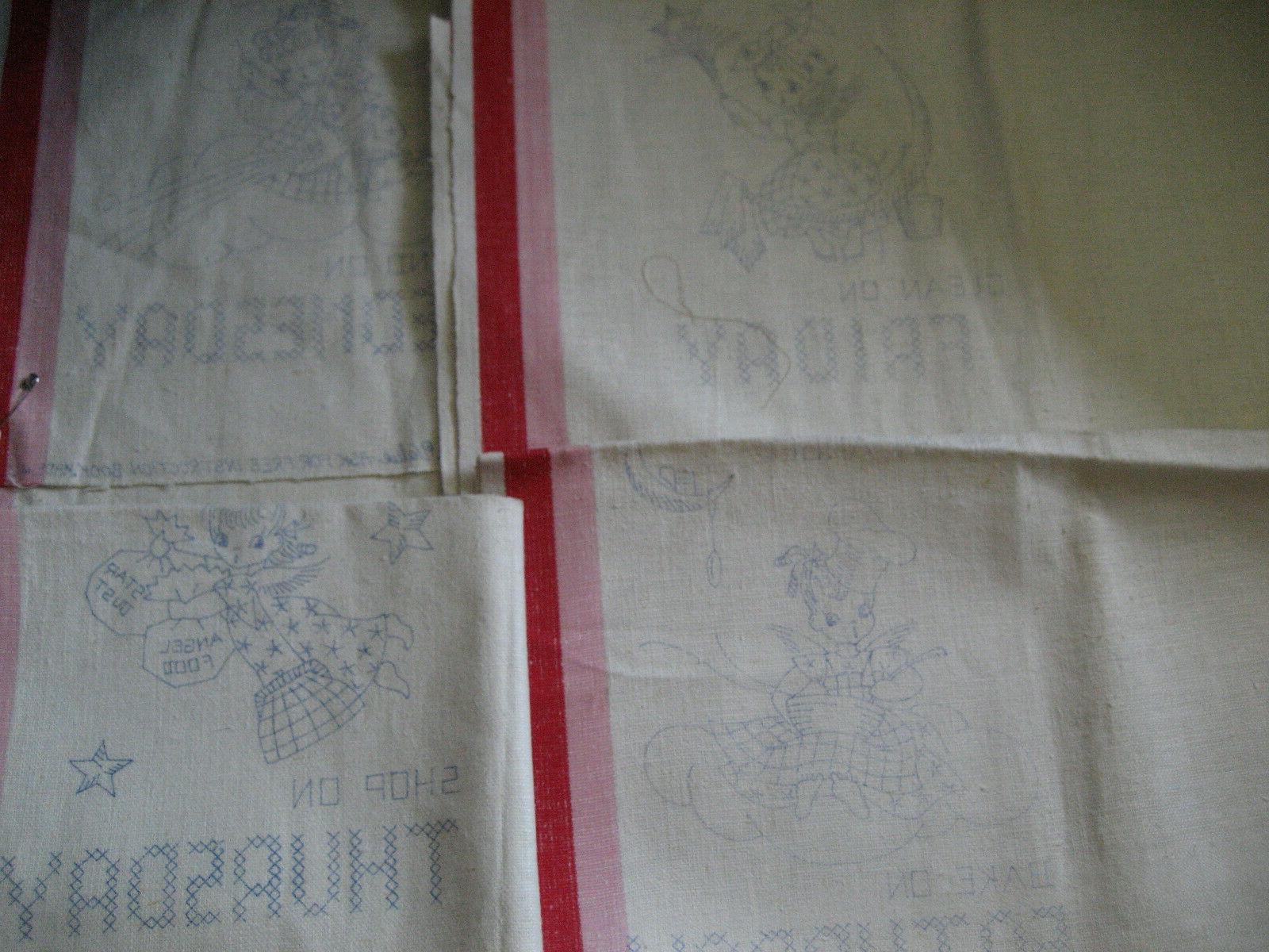 4 vtg pre stamped linen stripes kitchen