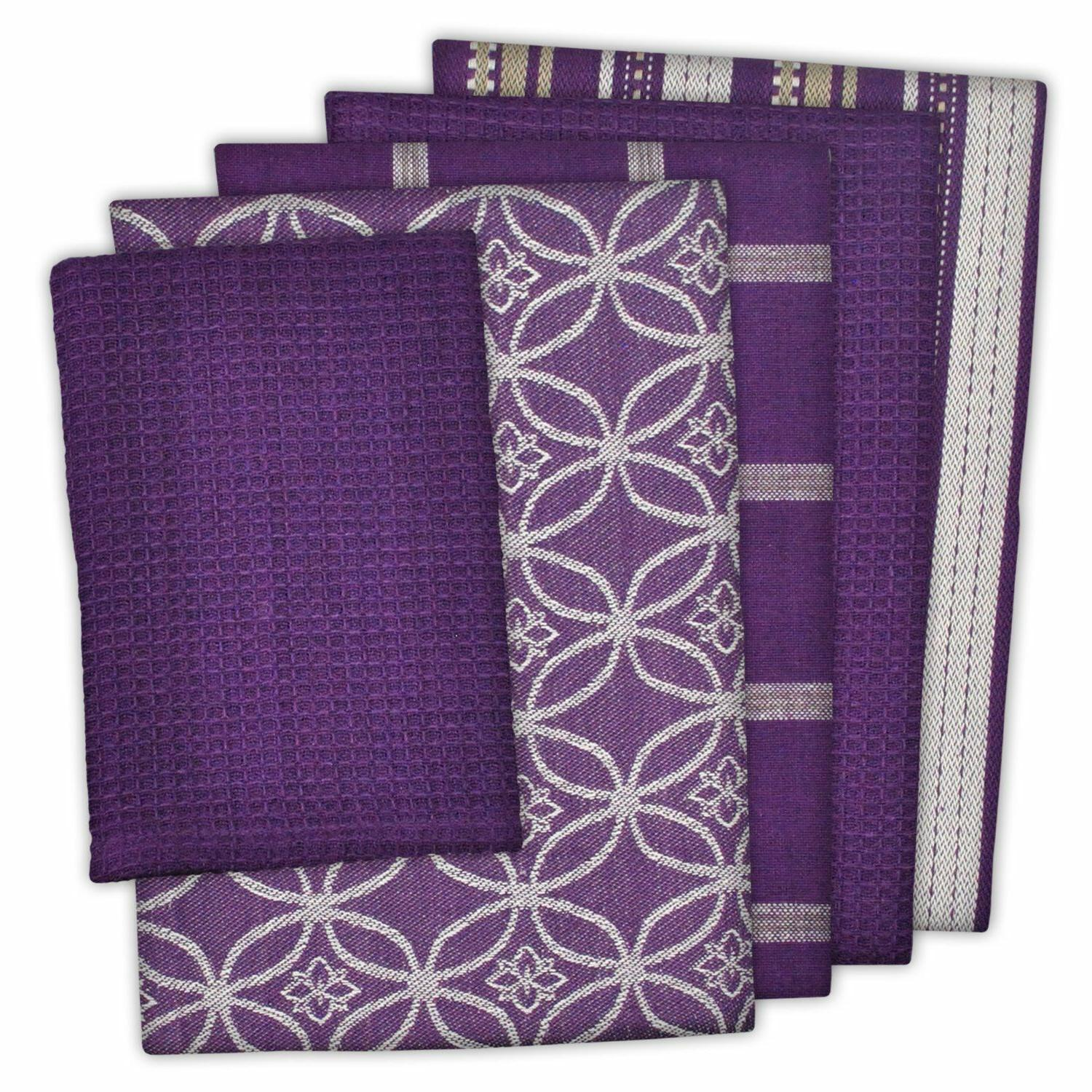 5 Piece Purple 4 Patterns Dish Towels 1 Dishcloth Kitchen Dr