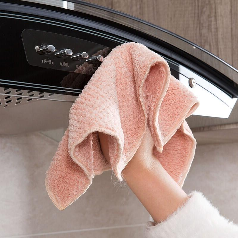 5PCS/<font><b>Set</b></font> Household <font><b>Kitchen</b></font> <font><b>Towel</b></font> Absorbent Thicker Double-layer Microfiber Wipe Cleaning Dish Washing
