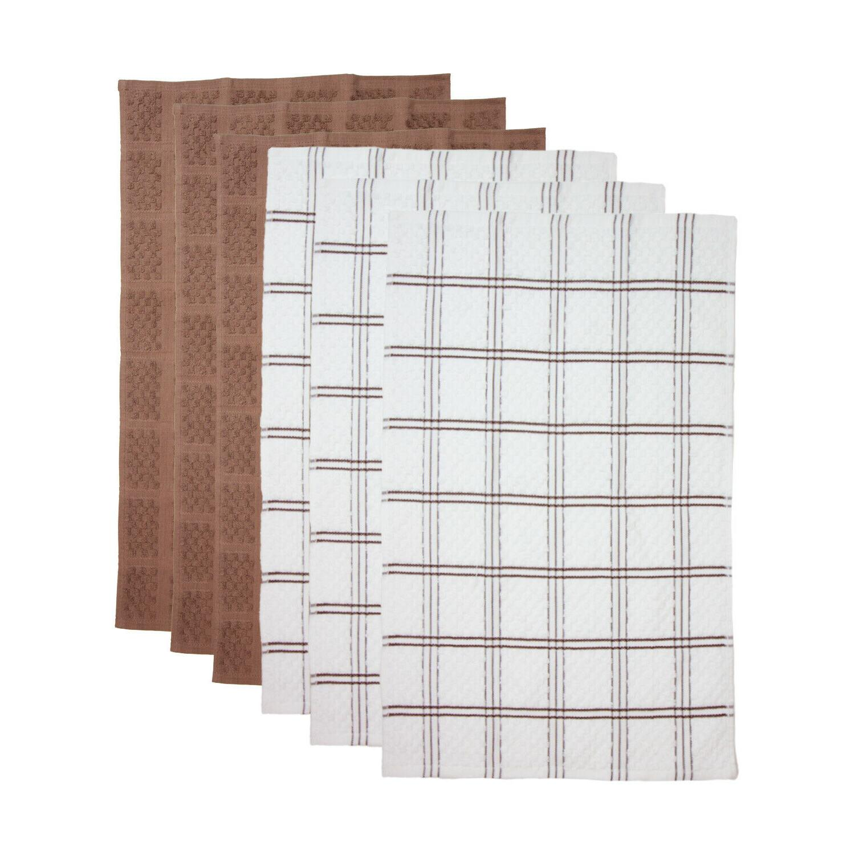 6 Pack Kitchen Tea Striped Popcorn Pattern x 25 in 100% Cotton
