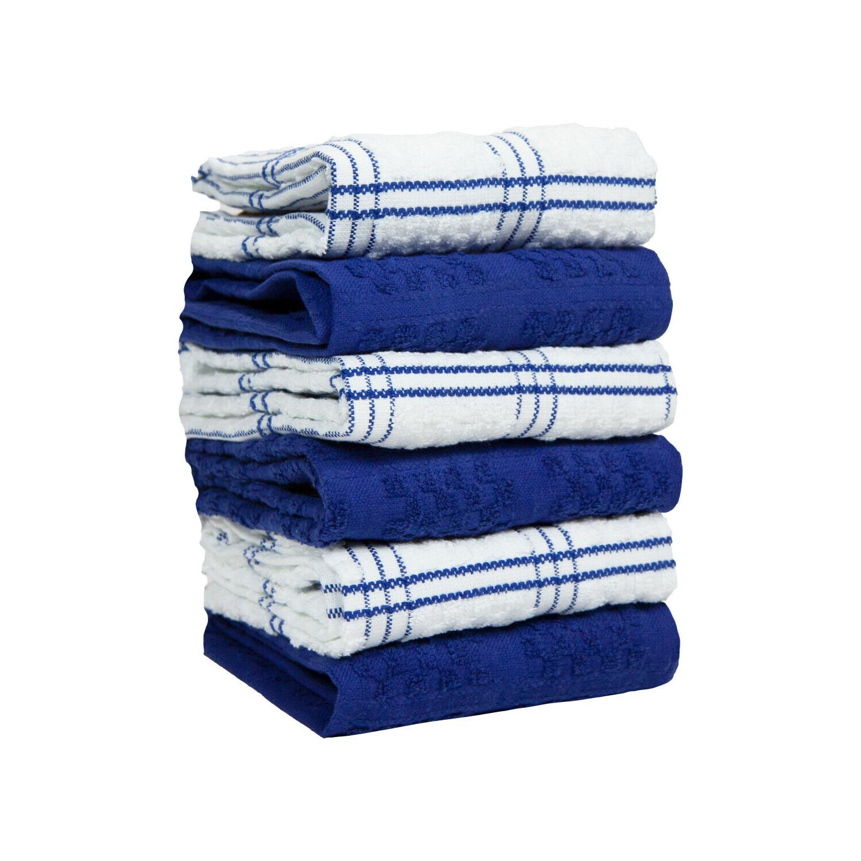 6 Pack of Kitchen Tea Towels - Striped Popcorn Pattern - 15