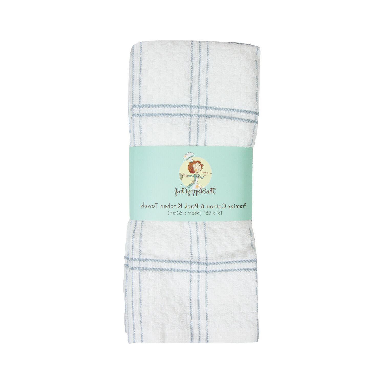 6 Tea Towels - Striped Popcorn Pattern x Cotton