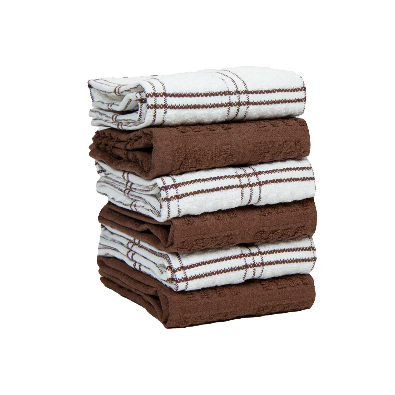 6 Pack of Kitchen Tea Towels - Striped Popcorn - x in Cotton